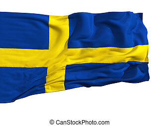 Flag of Sweden, fluttering in the wind Sewn from pieces of...