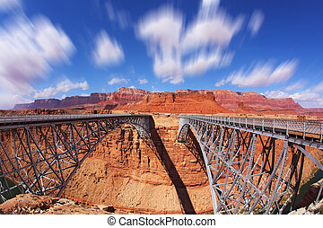 The Navajo Bridge for transport and for pedestrians