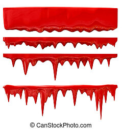 blood or red paint - streaks of blood or red paint trickles...