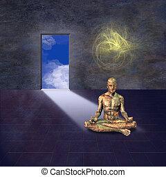 Meditating man and open door
