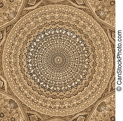 Dome of the mosque, oriental ornaments from Samarkand