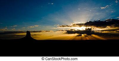 Utah, vale, amanhecer, EUA, monumento
