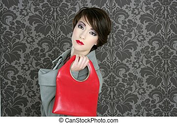 handbag red retro woman vintage fashion gray wallpaper
