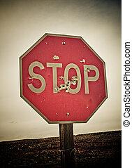 parada, sinal, bala, Buracos