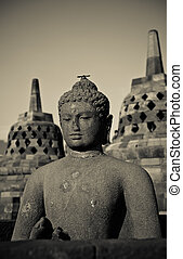 Buddha, estatua, Borobudur, templo, java, indonesia