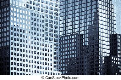 janelas, escritório, edifícios