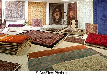 Arabic carpet shop exhibition colorful carpets exposition...