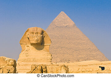 Sphinx and pyramids at Giza, Cairo