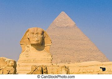 esfinge, pirámides, Giza, El Cairo