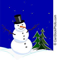 Snowman under starlit sky - Snowman with stovepipe hat in...