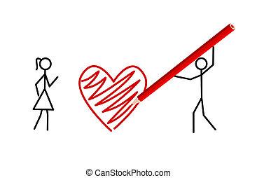 Stickmans valentine, two stickmans in love - Two stickmans...