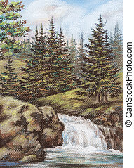 Mountain river with falls - Picture, Russia, mountain Altay...