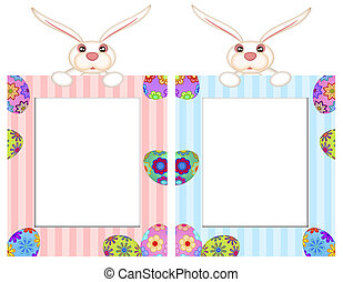 Easter Bunny with Striped Picture Frame