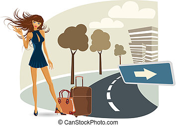 the vector girl on her travel