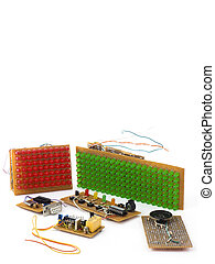 DIY circuits - Electronic circuits DIY isolated on white...