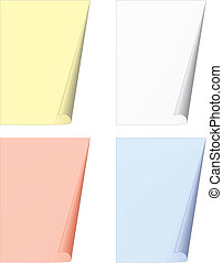 bent pages - vector illustration: four bent pages over white