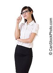 Confident business woman, closeup portrait over white...