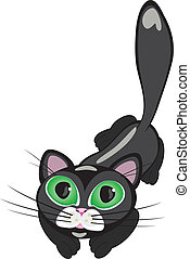 Black cat - Black cartoon cat Vector illustration on white...