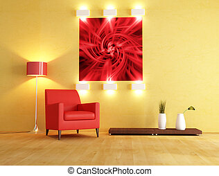 modern interior space - red armchair and abstract picture on...