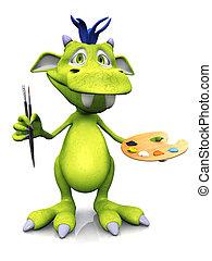 Cute cartoon monster ready to paint. - A cute friendly...