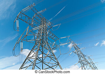 Electrical Transmission Towers Electricity Pylons - A line...