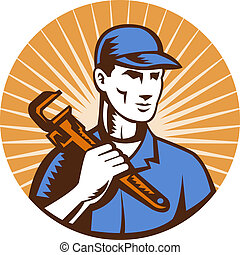Plumber holding monkey wrench - illustration of a Plumber...