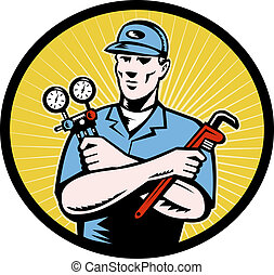 repairman tradesman - illustration of a repairman or air...