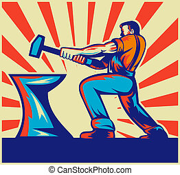 male worker or blacksmith striking - illustration of a male...
