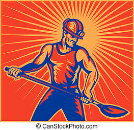 Coal miner worker at work - illustration of a Coal miner...