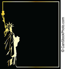 the gold vector statue of liberty on black background