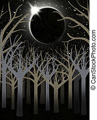 forest and full moon illustration - scary forest and full...