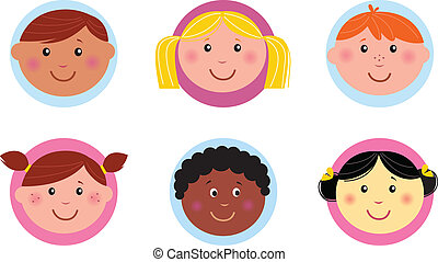 Cute diversity kids icons or button - Vector collection of...