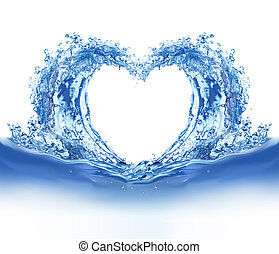 Blue water heart Illustration on white background