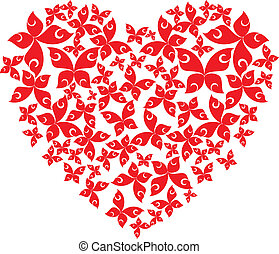 Heart from flying butterflies Vector illustration on white