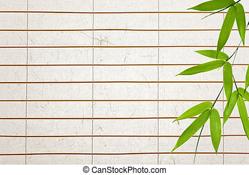 rice paper background with bamboo-leaves - rice paper blinds...