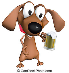 Dog beer mug - 3d ilustration, Dog beer mug