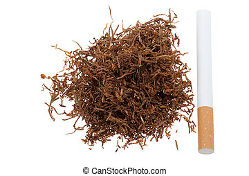 Macro of tobacco and a cigarette isolated on a white...