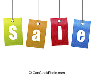 Hanging sale - Orange, green, blue and red hanging sale...