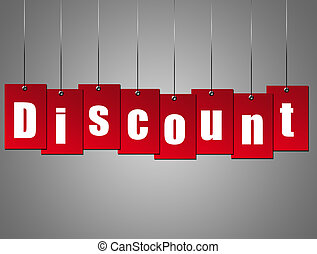 Hanging discount - Red hanging discount advertisement over...