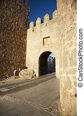 Avila westside door - view of Avila city at Castilla in...