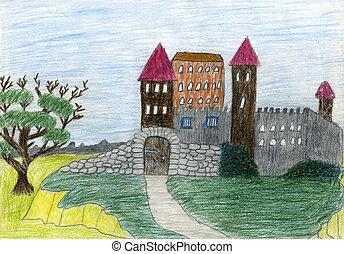 criança, castelo, desenho