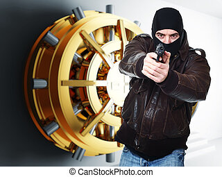 thief at work - armed thief and bank golden vault door 3d