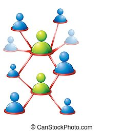 Human Networking - illustration of human connecting with...