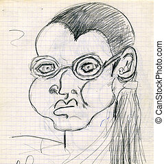 Pencil drawing of woman in glasses, drawn by a child in...