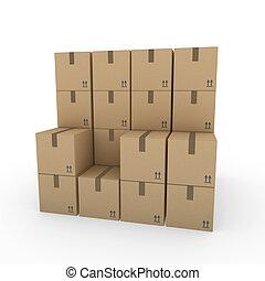 3D, paquete, envío, caja, marrón