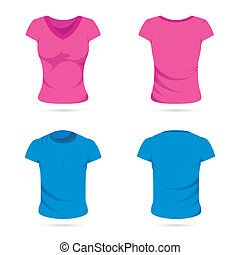 Male and Female T-shirts - illustration of front and back...