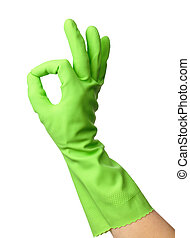 Hand wearing rubber glove shows OK sign - Hand wearing green...