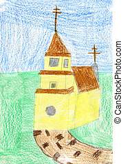 Child's drawing of yellow church. Made by child.