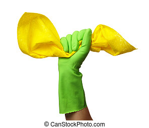 Hand in rubber glove holds cleaning rag - Hand in green...
