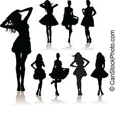 beautiful model girls - vector illustration set of various...